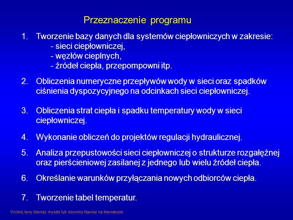 Przeznaczenie programu 1.Tworzenie bazy danych dla systemów ciepłowniczych w zakresie: - sieci ciepłowniczej, - węzłów cieplnych, - źródeł ciepła, prz