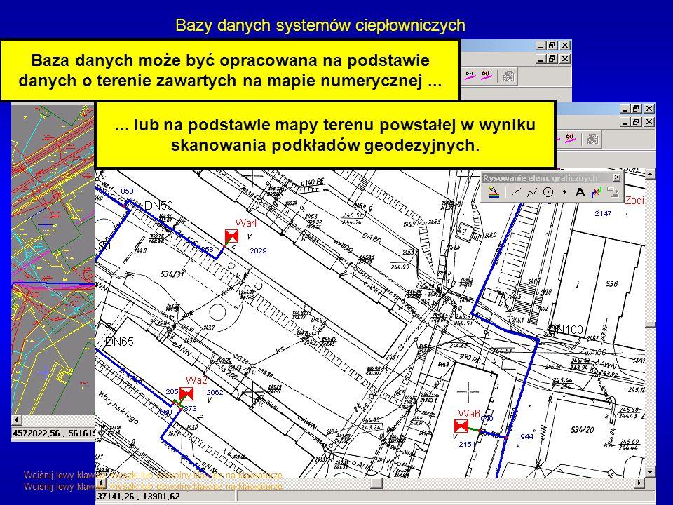 Bazy danych systemów ciepłowniczych Baza danych może być opracowana na podstawie danych o terenie zawartych na mapie numerycznej...... lub na podstawi