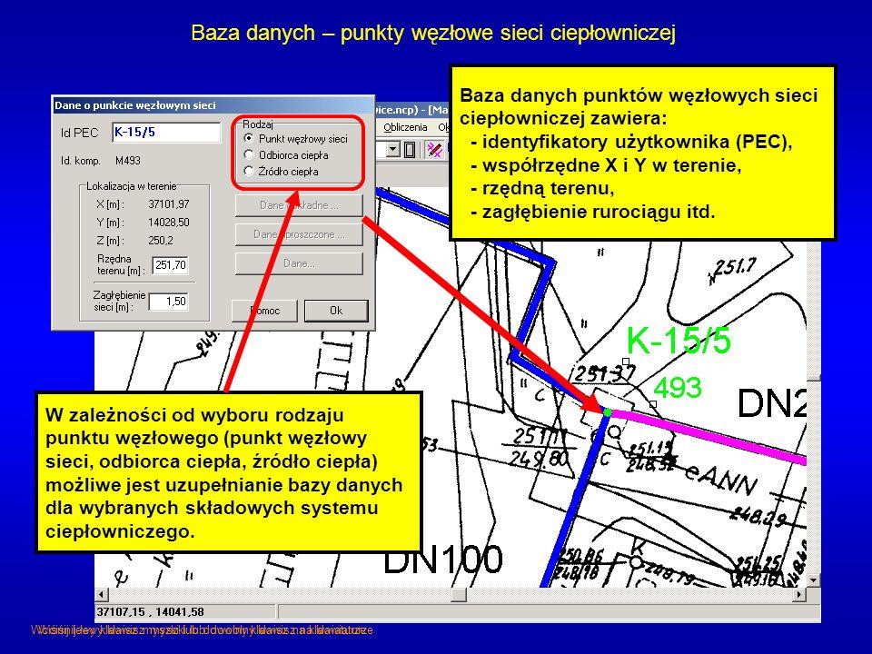 Baza danych – punkty węzłowe sieci ciepłowniczej Baza danych punktów węzłowych sieci ciepłowniczej zawiera: - identyfikatory użytkownika (PEC), - wspó