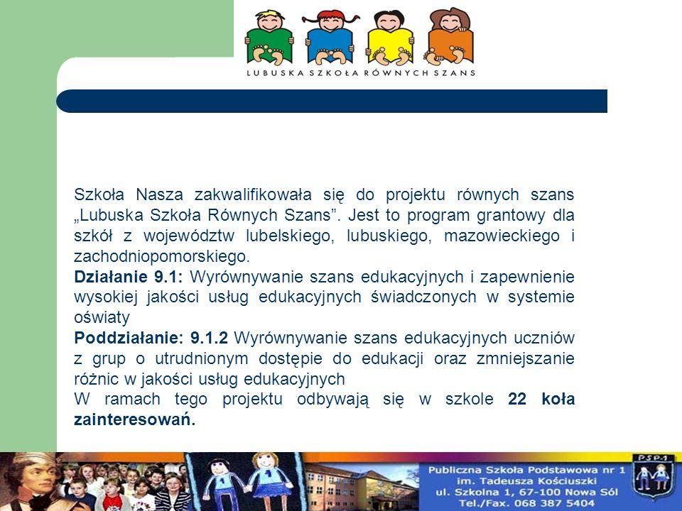 Szkoła Nasza zakwalifikowała się do projektu równych szans Lubuska Szkoła Równych Szans. Jest to program grantowy dla szkół z województw lubelskiego,