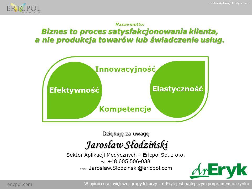 ericpol.com W opinii coraz większej grupy lekarzy – drEryk jest najlepszym programem na rynku Dziękuję za uwagę Jarosław Słodziński Sektor Aplikacji M