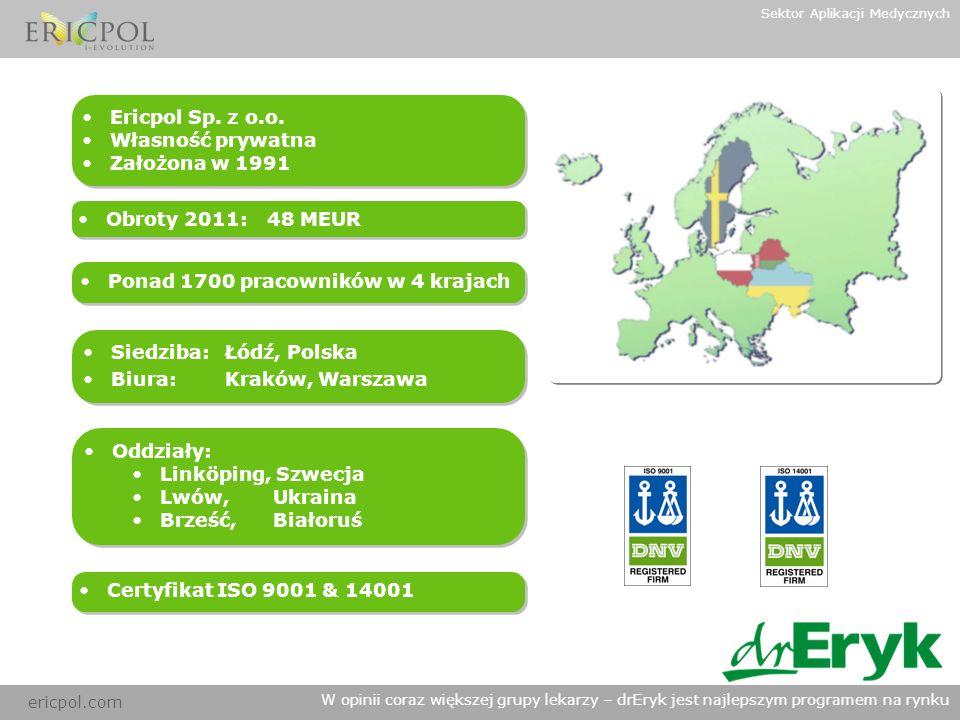 ericpol.com W opinii coraz większej grupy lekarzy – drEryk jest najlepszym programem na rynku Sektor Aplikacji Medycznych Charakterystyka Produktu Leczniczego ROZWIĄZANIE DLA WYMAGAJĄCYCH Aplikacja ChPL bezpośrednio dostępna w programie drEryk oraz niezależnie na stronie internetowej www.drEryk.pl, a także jako ChPL mobile umożliwia szybki i łatwy dostęp do aktualnej Listywww.drEryk.pl Leków Refundowanych.
