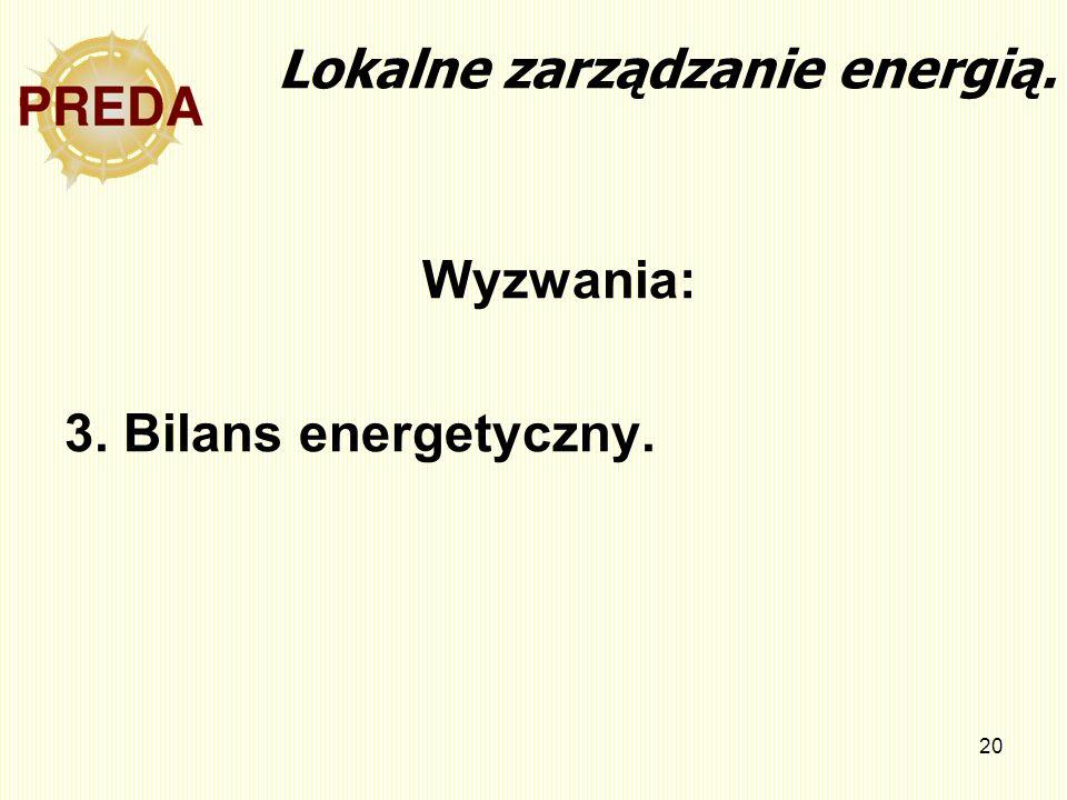 20 Lokalne zarządzanie energią. Wyzwania: 3. Bilans energetyczny.