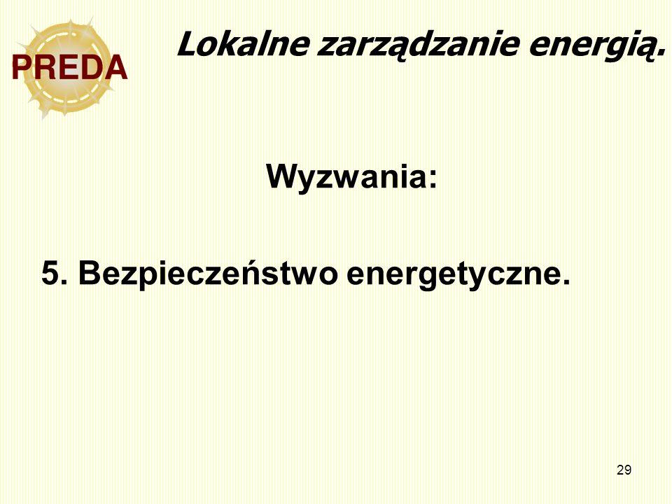 29 Lokalne zarządzanie energią. Wyzwania: 5. Bezpieczeństwo energetyczne.