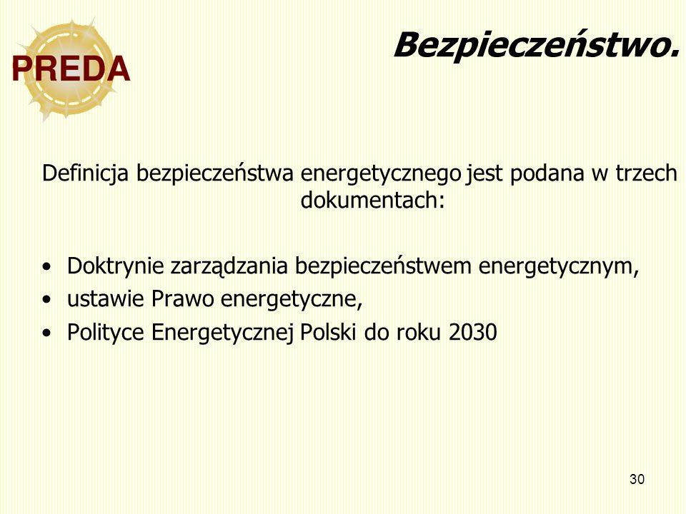 30 Bezpieczeństwo. Definicja bezpieczeństwa energetycznego jest podana w trzech dokumentach: Doktrynie zarządzania bezpieczeństwem energetycznym, usta