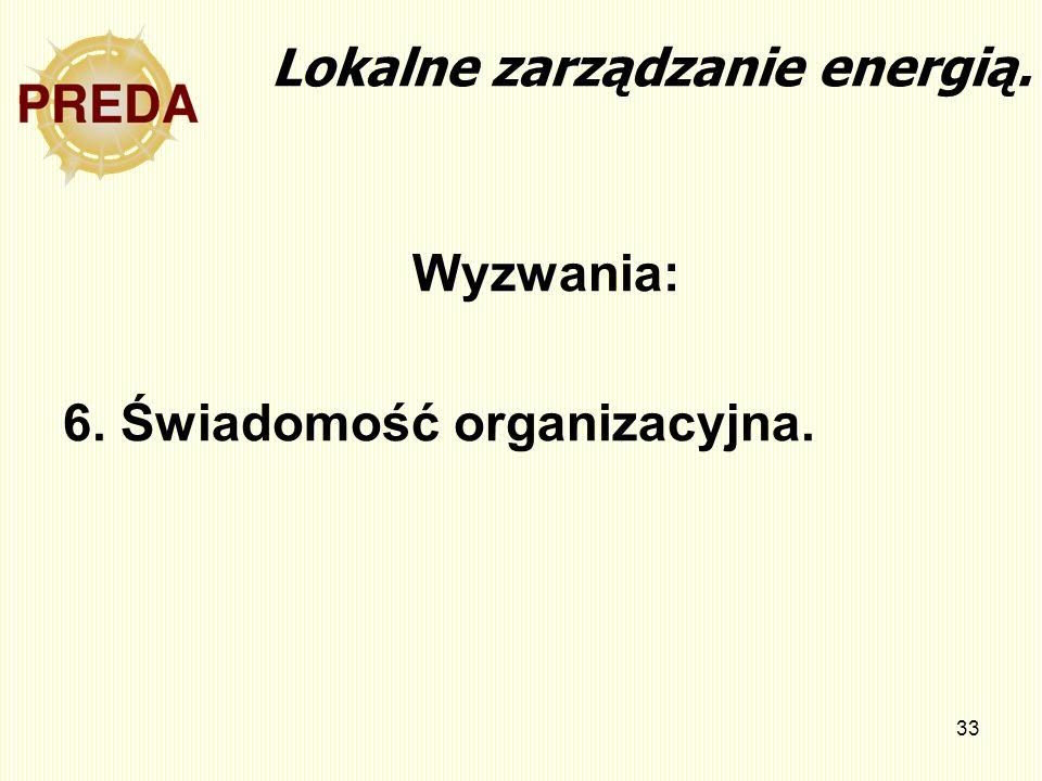 33 Lokalne zarządzanie energią. Wyzwania: 6. Świadomość organizacyjna.