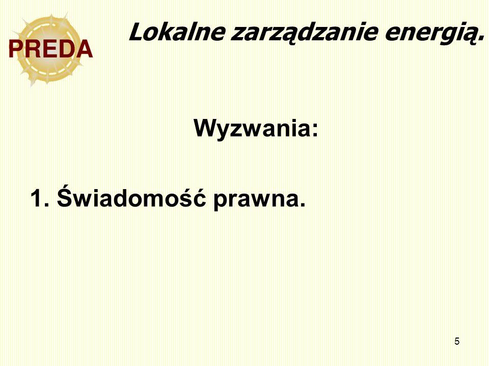 5 Lokalne zarządzanie energią. Wyzwania: 1. Świadomość prawna.
