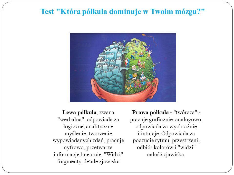 Test Która półkula dominuje w Twoim mózgu? Lewa półkula, zwana werbalną , odpowiada za logiczne, analityczne myślenie, tworzenie wypowiadanych zdań, pracuje cyfrowo, przetwarza informacje linearnie.