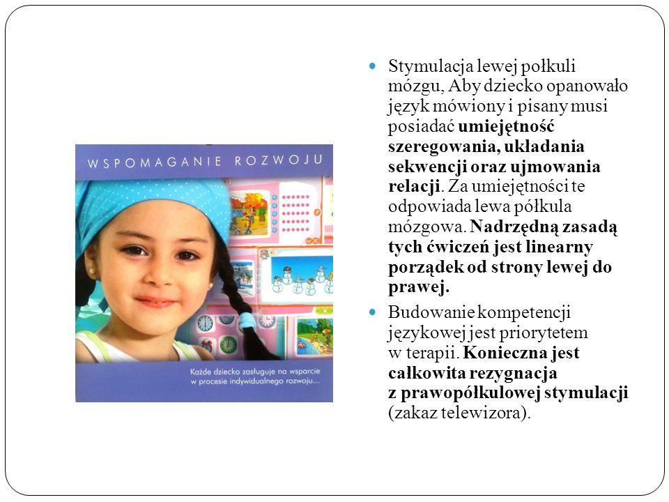 Stymulacja lewej połkuli mózgu, Aby dziecko opanowało język mówiony i pisany musi posiadać umiejętność szeregowania, układania sekwencji oraz ujmowani