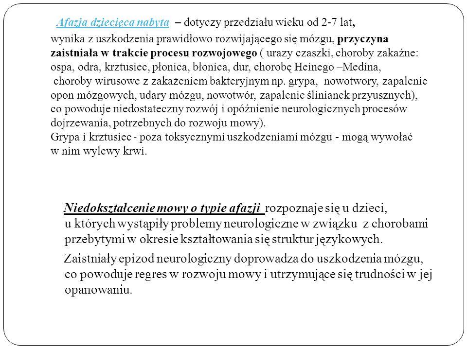 · Afazja dziecięca nabyta – dotyczy przedziału wieku od 2-7 lat, wynika z uszkodzenia prawidłowo rozwijającego się mózgu, przyczyna zaistniała w trakcie procesu rozwojowego ( urazy czaszki, choroby zakaźne: ospa, odra, krztusiec, płonica, błonica, dur, chorobę Heinego –Medina, choroby wirusowe z zakażeniem bakteryjnym np.