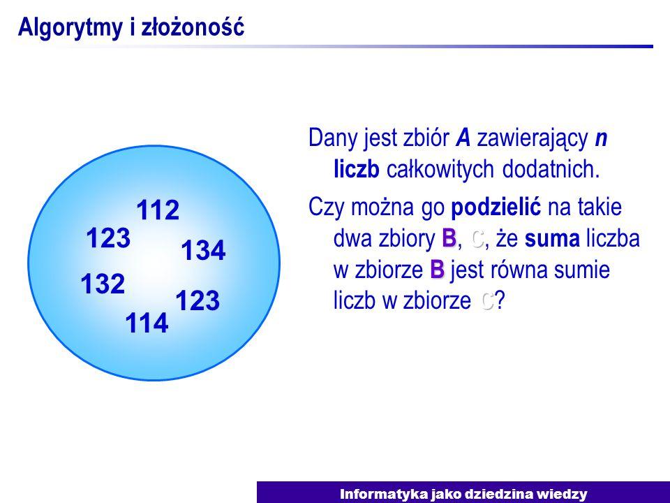 Informatyka jako dziedzina wiedzy Algorytmy i złożoność 123 132 112 134 123 114