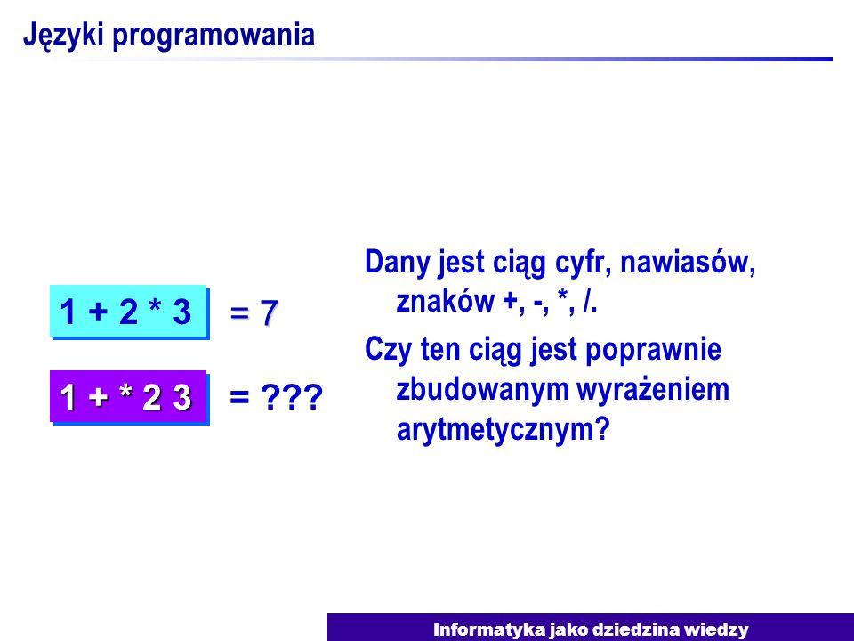 Informatyka jako dziedzina wiedzy Języki programowania Dany jest ciąg cyfr, nawiasów, znaków +, -, *, /. Czy ten ciąg jest poprawnie zbudowanym wyraże