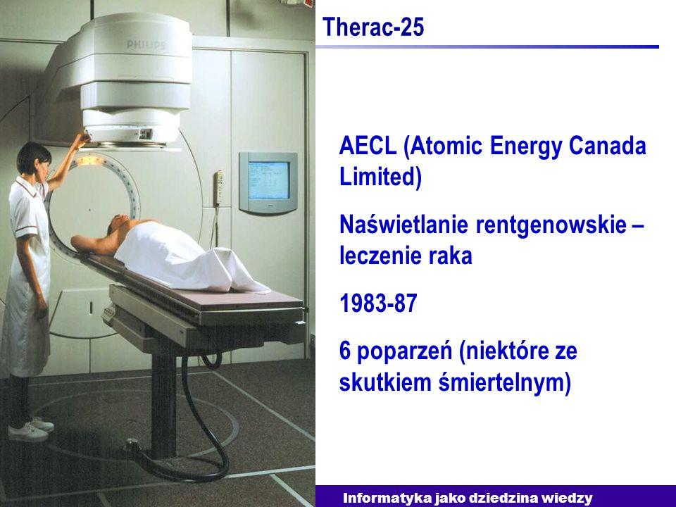 Informatyka jako dziedzina wiedzy Therac-25 AECL (Atomic Energy Canada Limited) Naświetlanie rentgenowskie – leczenie raka 1983-87 6 poparzeń (niektór