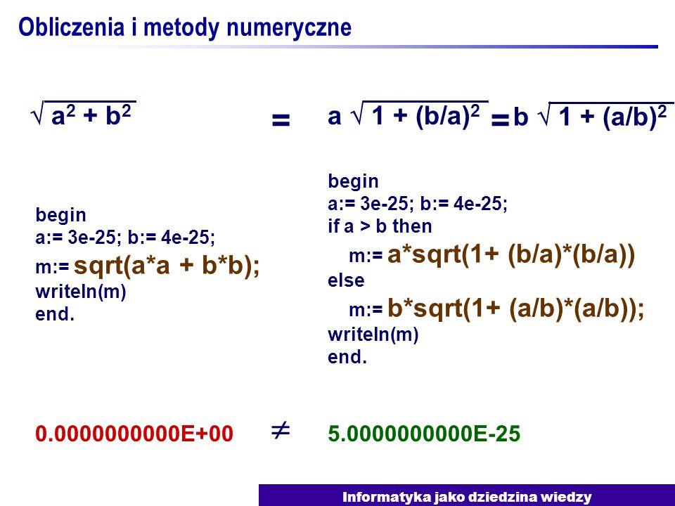 Informatyka jako dziedzina wiedzy Obliczenia i metody numeryczne a 2 + b 2 a 1 + (b/a) 2 begin a:= 3e-25; b:= 4e-25; m:= sqrt(a*a + b*b); writeln(m) e