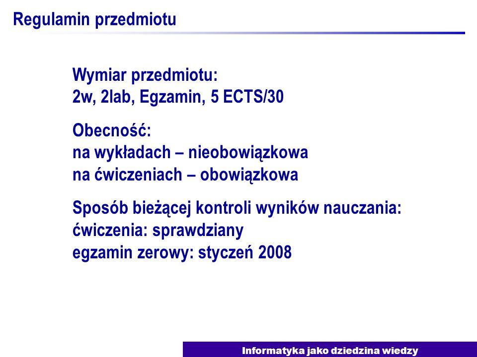 Informatyka jako dziedzina wiedzy Regulamin przedmiotu Konsultacje: J.Nawrocki: pon., godz.