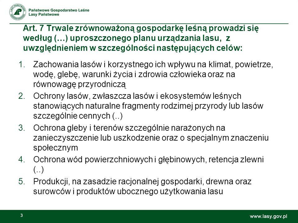 3 Art. 7 Trwale zrównoważoną gospodarkę leśną prowadzi się według (…) uproszczonego planu urządzania lasu, z uwzględnieniem w szczególności następując
