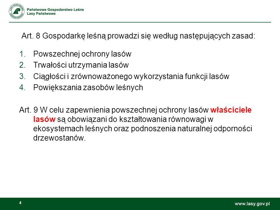 4 Art. 8 Gospodarkę leśną prowadzi się według następujących zasad: 1.Powszechnej ochrony lasów 2.Trwałości utrzymania lasów 3.Ciągłości i zrównoważone