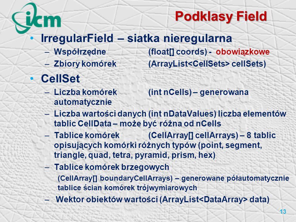 Podklasy Field IrregularField – siatka nieregularna –Współrzędne(float[] coords) - obowiązkowe –Zbiory komórek (ArrayList cellSets) CellSet –Liczba komórek(int nCells) – generowana automatycznie –Liczba wartości danych(int nDataValues) liczba elementów tablic CellData – może być różna od nCells –Tablice komórek (CellArray[] cellArrays) – 8 tablic opisujących komórki różnych typów (point, segment, triangle, quad, tetra, pyramid, prism, hex) –Tablice komórek brzegowych (CellArray[] boundaryCellArrays) – generowane półautomatycznie tablice ścian komórek trójwymiarowych –Wektor obiektów wartości (ArrayList data) 13