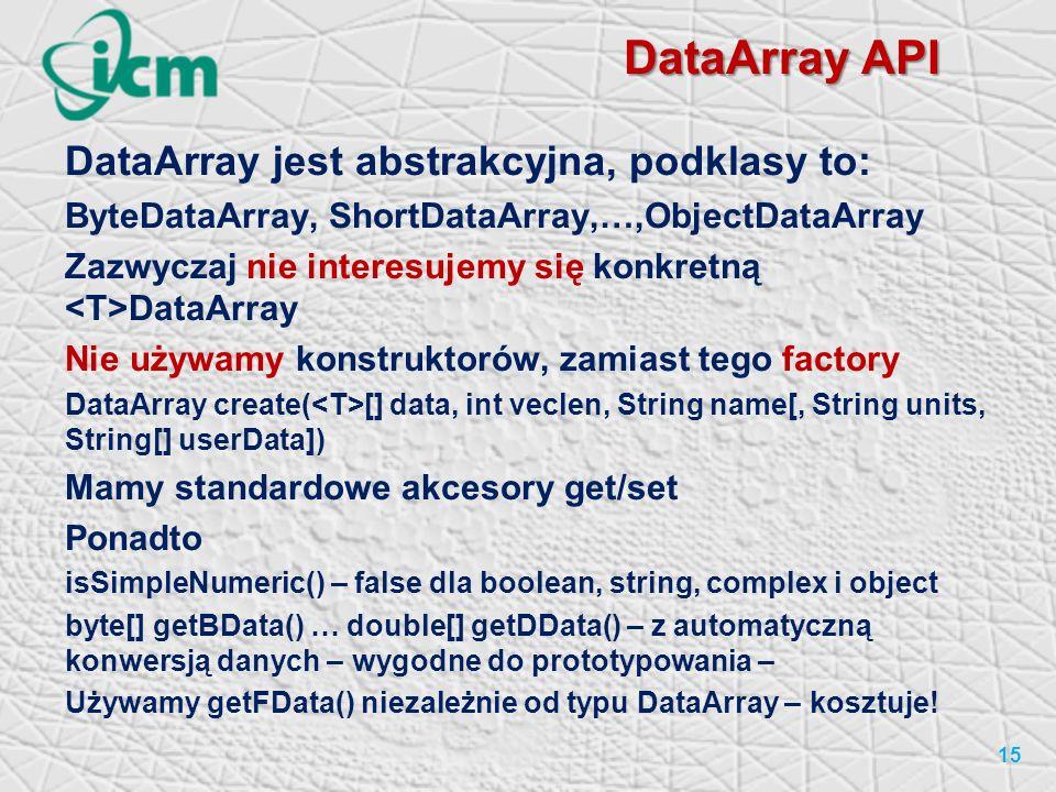 DataArray API DataArray jest abstrakcyjna, podklasy to: ByteDataArray, ShortDataArray,…,ObjectDataArray Zazwyczaj nie interesujemy się konkretną DataArray Nie używamy konstruktorów, zamiast tego factory DataArray create( [] data, int veclen, String name[, String units, String[] userData]) Mamy standardowe akcesory get/set Ponadto isSimpleNumeric() – false dla boolean, string, complex i object byte[] getBData() … double[] getDData() – z automatyczną konwersją danych – wygodne do prototypowania – Używamy getFData() niezależnie od typu DataArray – kosztuje.