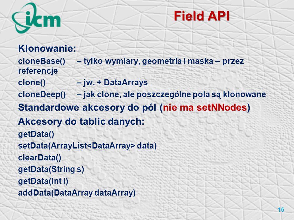 Field API 16 Klonowanie: cloneBase()– tylko wymiary, geometria i maska – przez referencje clone() – jw.