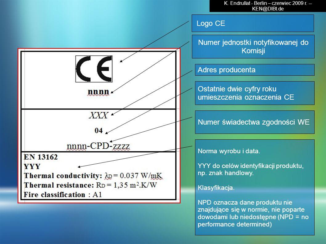 Logo CE Numer jednostki notyfikowanej do Komisji Adres producenta Ostatnie dwie cyfry roku umieszczenia oznaczenia CE Numer świadectwa zgodności WE No