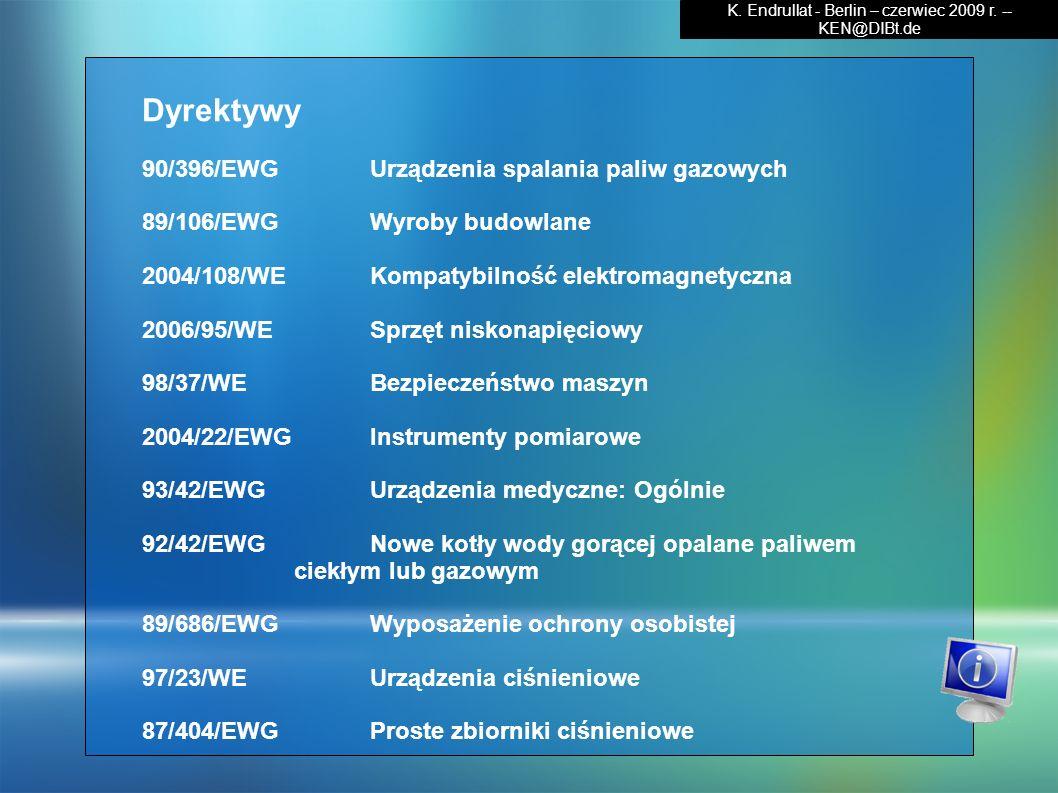 Dyrektywy 90/396/EWG Urządzenia spalania paliw gazowych 89/106/EWG Wyroby budowlane 2004/108/WE Kompatybilność elektromagnetyczna 2006/95/WE Sprzęt ni