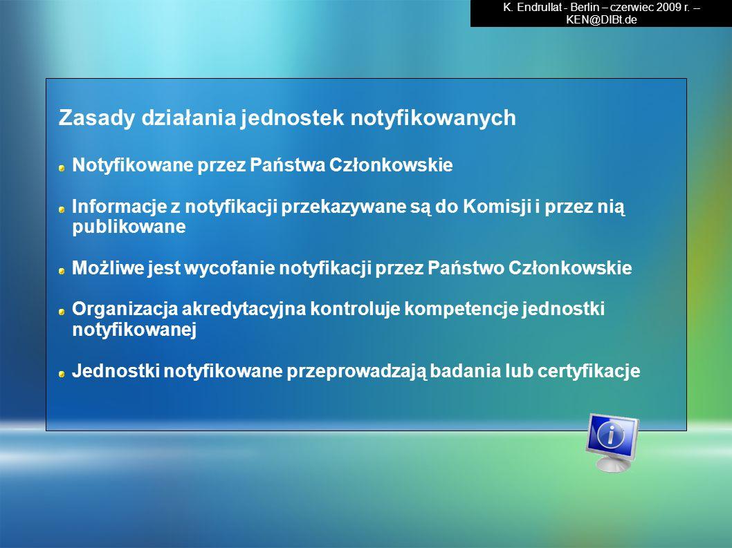 Zasady działania jednostek notyfikowanych Notyfikowane przez Państwa Członkowskie Informacje z notyfikacji przekazywane są do Komisji i przez nią publ