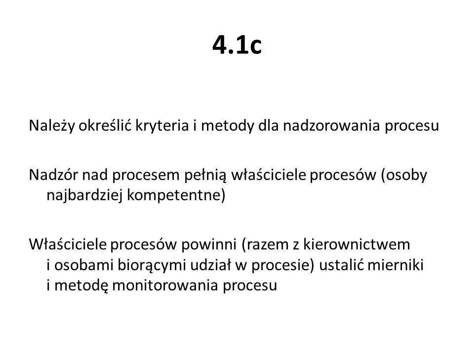 4.1c Należy określić kryteria i metody dla nadzorowania procesu Nadzór nad procesem pełnią właściciele procesów (osoby najbardziej kompetentne) Właści