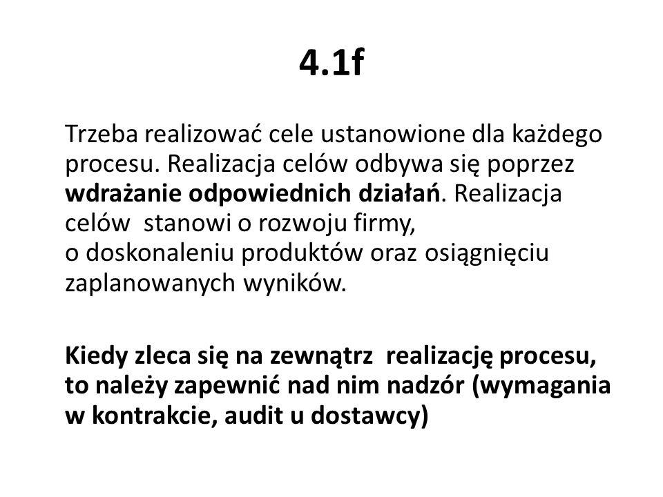 4.1f Trzeba realizować cele ustanowione dla każdego procesu. Realizacja celów odbywa się poprzez wdrażanie odpowiednich działań. Realizacja celów stan
