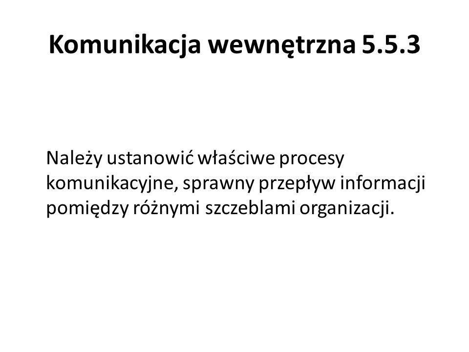 Komunikacja wewnętrzna 5.5.3 Należy ustanowić właściwe procesy komunikacyjne, sprawny przepływ informacji pomiędzy różnymi szczeblami organizacji.