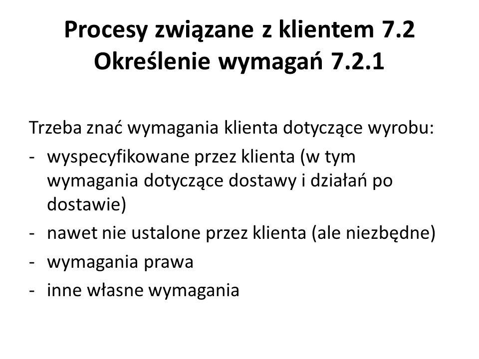 Procesy związane z klientem 7.2 Określenie wymagań 7.2.1 Trzeba znać wymagania klienta dotyczące wyrobu: -wyspecyfikowane przez klienta (w tym wymagan