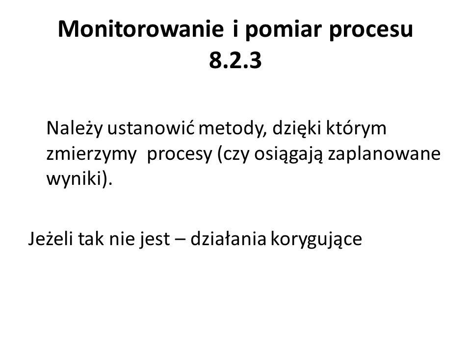 Monitorowanie i pomiar procesu 8.2.3 Należy ustanowić metody, dzięki którym zmierzymy procesy (czy osiągają zaplanowane wyniki). Jeżeli tak nie jest –