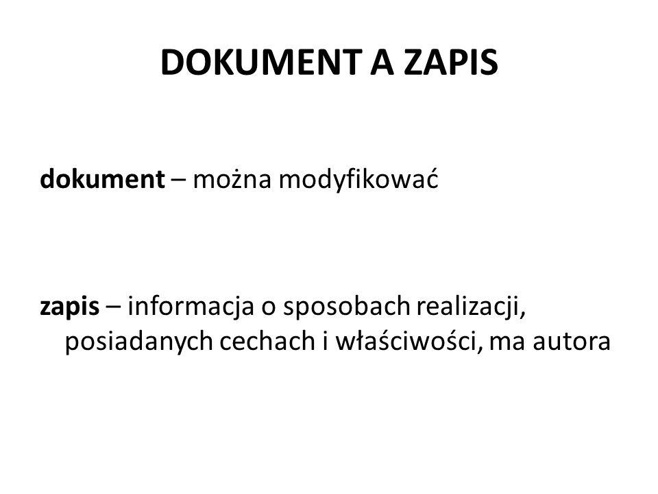 DOKUMENT A ZAPIS dokument – można modyfikować zapis – informacja o sposobach realizacji, posiadanych cechach i właściwości, ma autora
