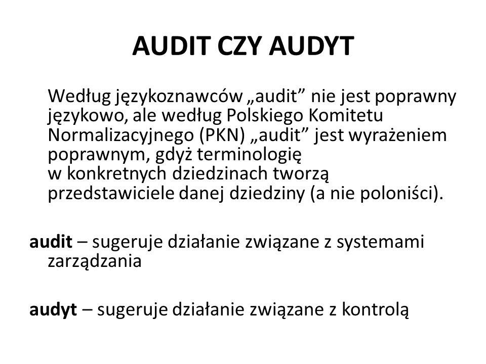 AUDIT CZY AUDYT Według językoznawców audit nie jest poprawny językowo, ale według Polskiego Komitetu Normalizacyjnego (PKN) audit jest wyrażeniem popr