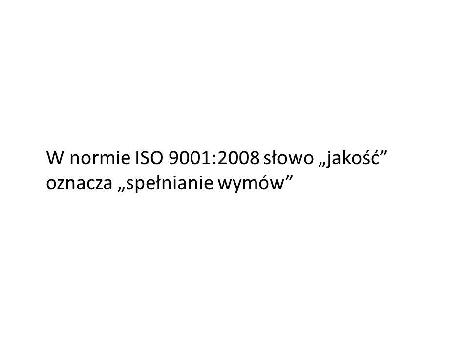 W normie ISO 9001:2008 słowo jakość oznacza spełnianie wymów