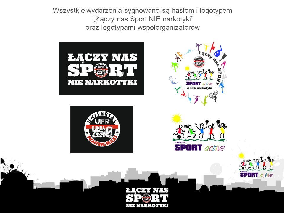 Wszystkie wydarzenia sygnowane są hasłem i logotypem Łączy nas Sport NIE narkotyki oraz logotypami współorganizatorów