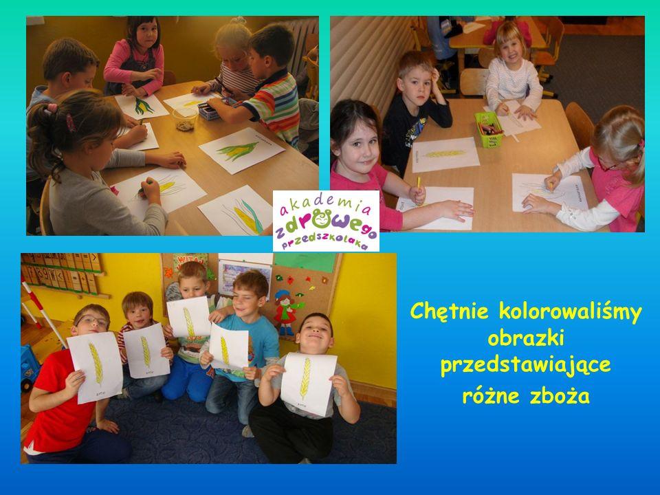 Chętnie kolorowaliśmy obrazki przedstawiające różne zboża