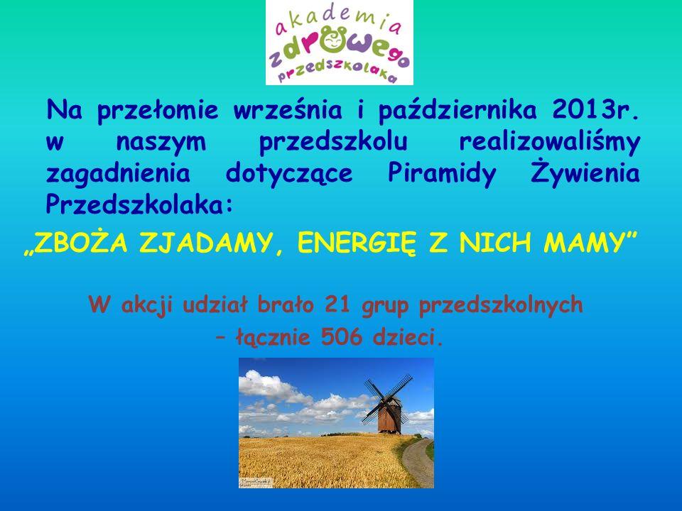 Na przełomie września i października 2013r. w naszym przedszkolu realizowaliśmy zagadnienia dotyczące Piramidy Żywienia Przedszkolaka: ZBOŻA ZJADAMY,