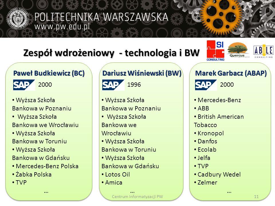 Zespół wdrożeniowy - technologia i BW Paweł Budkiewicz (BC) 2000 Wyższa Szkoła Bankowa w Poznaniu Wyższa Szkoła Bankowa we Wrocławiu Wyższa Szkoła Ban