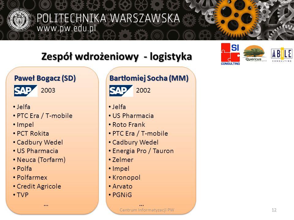 Zespół wdrożeniowy - logistyka Paweł Bogacz (SD) 2003 Jelfa PTC Era / T-mobile Impel PCT Rokita Cadbury Wedel US Pharmacia Neuca (Torfarm) Polfa Polfa