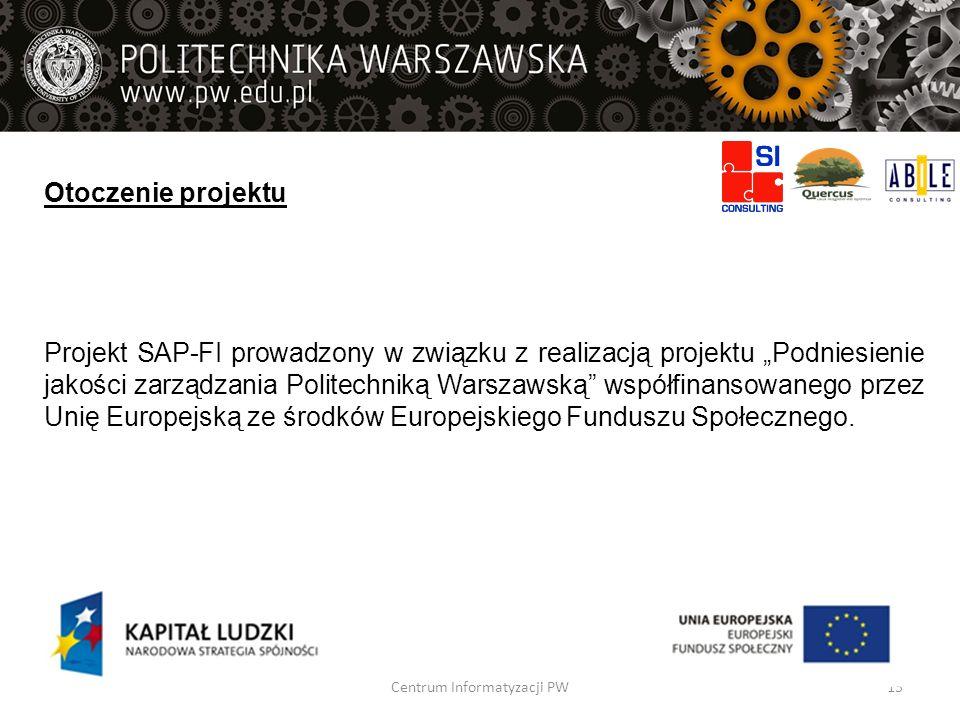 Otoczenie projektu Projekt SAP-FI prowadzony w związku z realizacją projektu Podniesienie jakości zarządzania Politechniką Warszawską współfinansowane