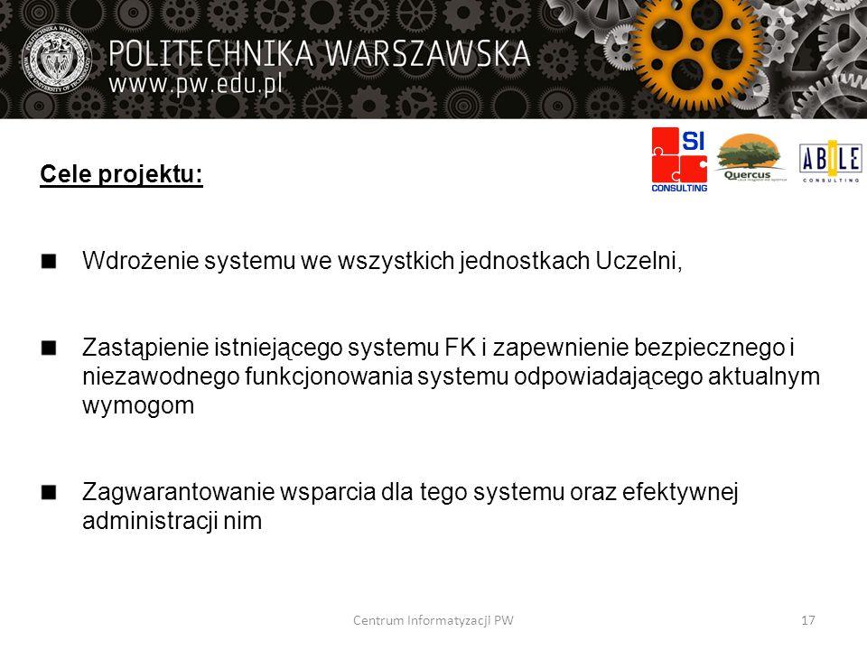 Cele projektu: Wdrożenie systemu we wszystkich jednostkach Uczelni, Zastąpienie istniejącego systemu FK i zapewnienie bezpiecznego i niezawodnego funk