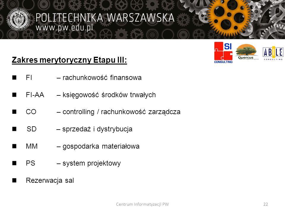 Zakres merytoryczny Etapu III: FI – rachunkowość finansowa FI-AA – księgowość środków trwałych CO – controlling / rachunkowość zarządcza SD – sprzedaż