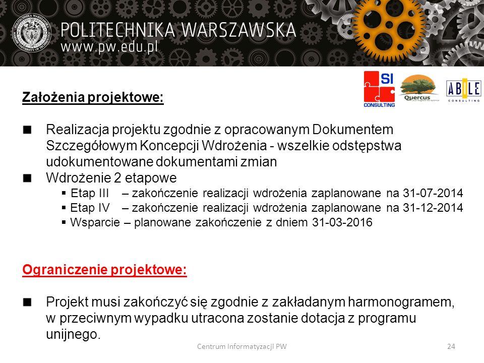 Założenia projektowe: Realizacja projektu zgodnie z opracowanym Dokumentem Szczegółowym Koncepcji Wdrożenia - wszelkie odstępstwa udokumentowane dokum