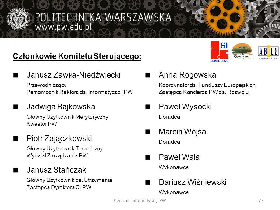 Członkowie Komitetu Sterującego: Janusz Zawiła-Niedźwiecki Przewodniczący Pełnomocnik Rektora ds. Informatyzacji PW Jadwiga Bajkowska Główny Użytkowni