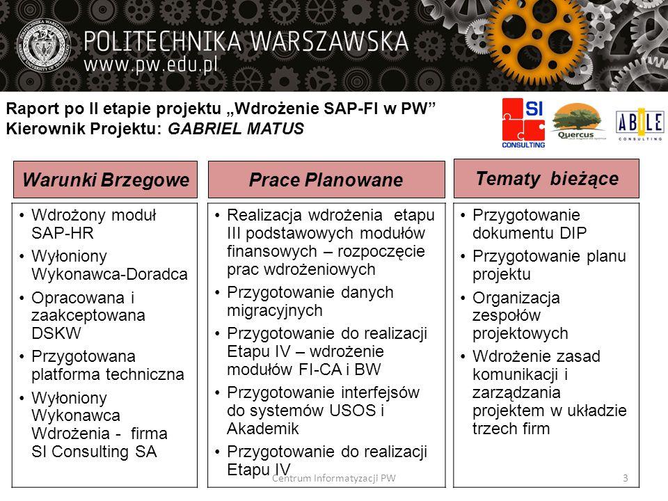 Zadania / Produkty Fazy II Konfiguracja systemu rozwojowego Oprogramowanie rozszerzeń, raportów niestandardowych, interfaceów, formularzy, narzędzi do migracji danych Instalacja środowiska testowego Testy wewnętrzne rozwiązania Przeniesienie rozwiązania na system testowy Przygotowanie danych do testowej migracji danych Wykonanie testowej migracji danych Opracowanie planu migracji danych, planu i organizacji szkoleń, planu fazy III FazaRozpoczęcieZakończenie FAZA 2: Konfiguracja 17-02-201402-05-2014 Centrum Informatyzacji PW34