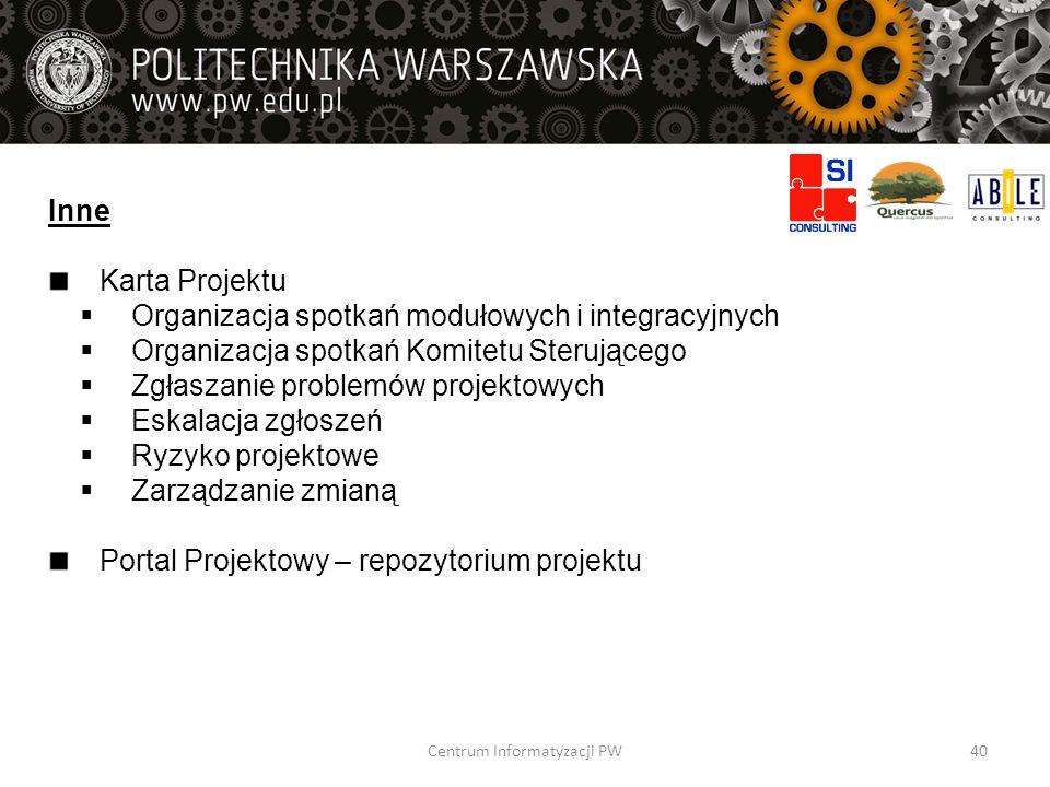 Inne Karta Projektu Organizacja spotkań modułowych i integracyjnych Organizacja spotkań Komitetu Sterującego Zgłaszanie problemów projektowych Eskalac