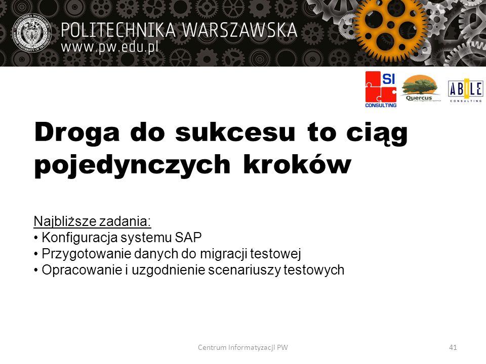 Droga do sukcesu to ciąg pojedynczych kroków Najbliższe zadania: Konfiguracja systemu SAP Przygotowanie danych do migracji testowej Opracowanie i uzgo