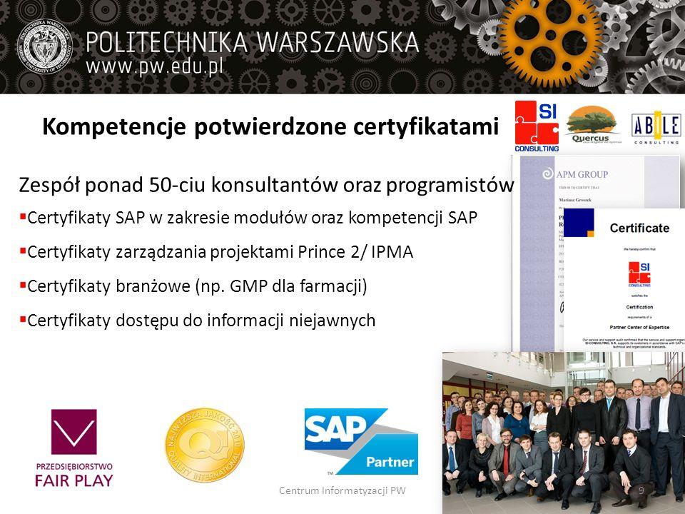 Kompetencje potwierdzone certyfikatami Zespół ponad 50-ciu konsultantów oraz programistów Certyfikaty SAP w zakresie modułów oraz kompetencji SAP Cert