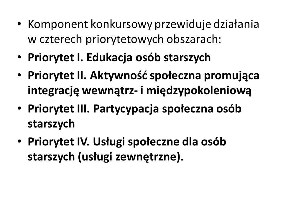 Komponent konkursowy przewiduje działania w czterech priorytetowych obszarach: Priorytet I. Edukacja osób starszych Priorytet II. Aktywność społeczna